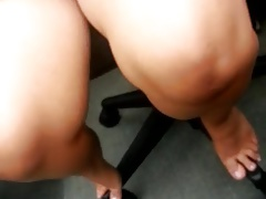 ample nymph upskirt at work