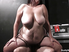 Molten plus-size in fishnets..