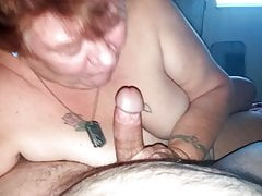 Mature Grandma deep-throating