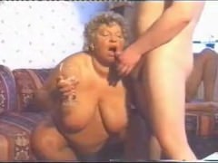 Plumper oma takes on 2 guys...